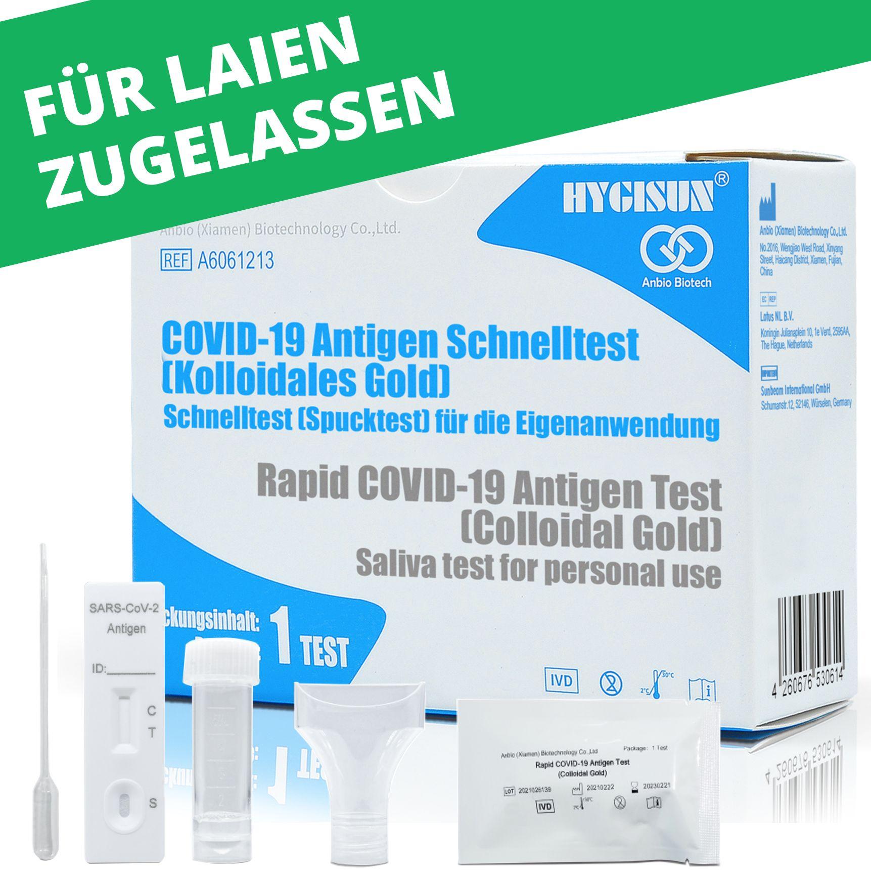 HYGISUN / Anbio Biotech Covid 19 Antigen-Schnelltest / Spucktest (Kolloidales Gold) (Laientest)