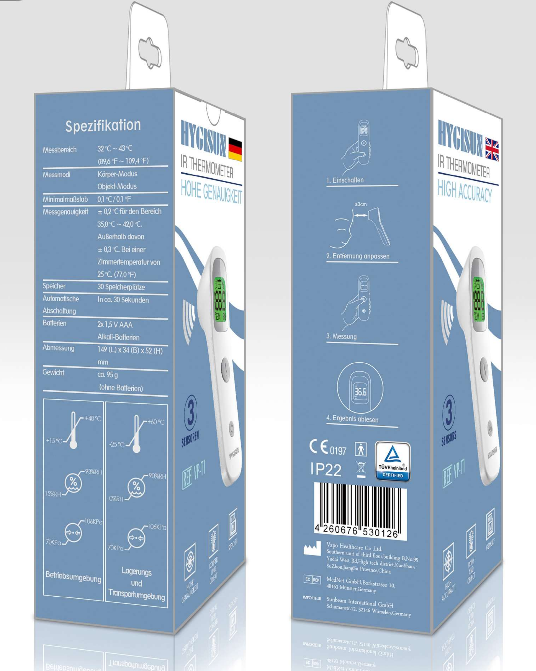 Hygisun Infrarot  Fieber- Thermometer (TÜV geprüft)