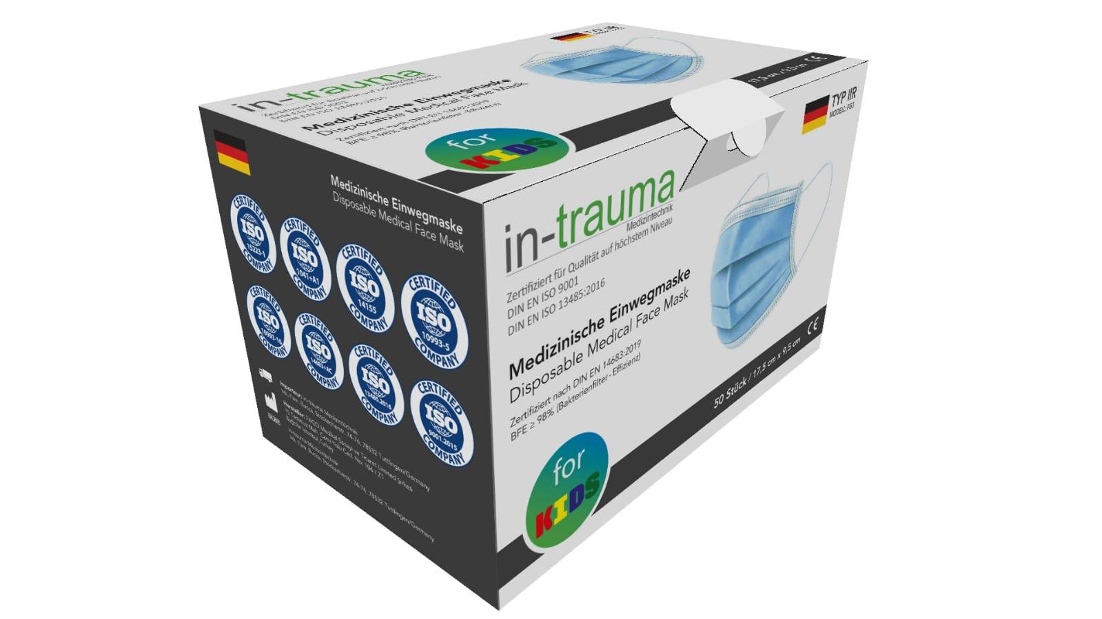 Kindermasken-  OP Mundschutz Typ IIR für Kinder (50er Packung)