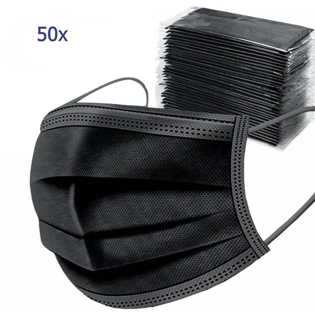 Typ II R Medizinische Mundschutzmasken (schwarz) 3- lagig (50Stk.) (EN 2016/425 zertifiziert)