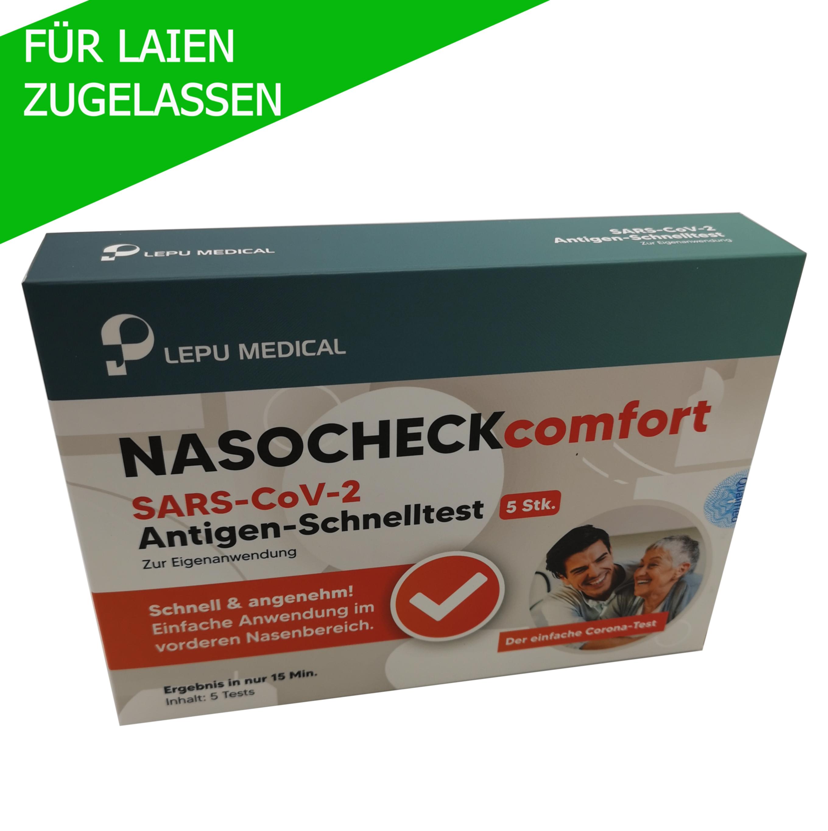 5er Packung LEPU Nasocheck comfort Antigen Schnelltest (vorderer Nasenabstrich) zum Nachweis von SARS-CoV2