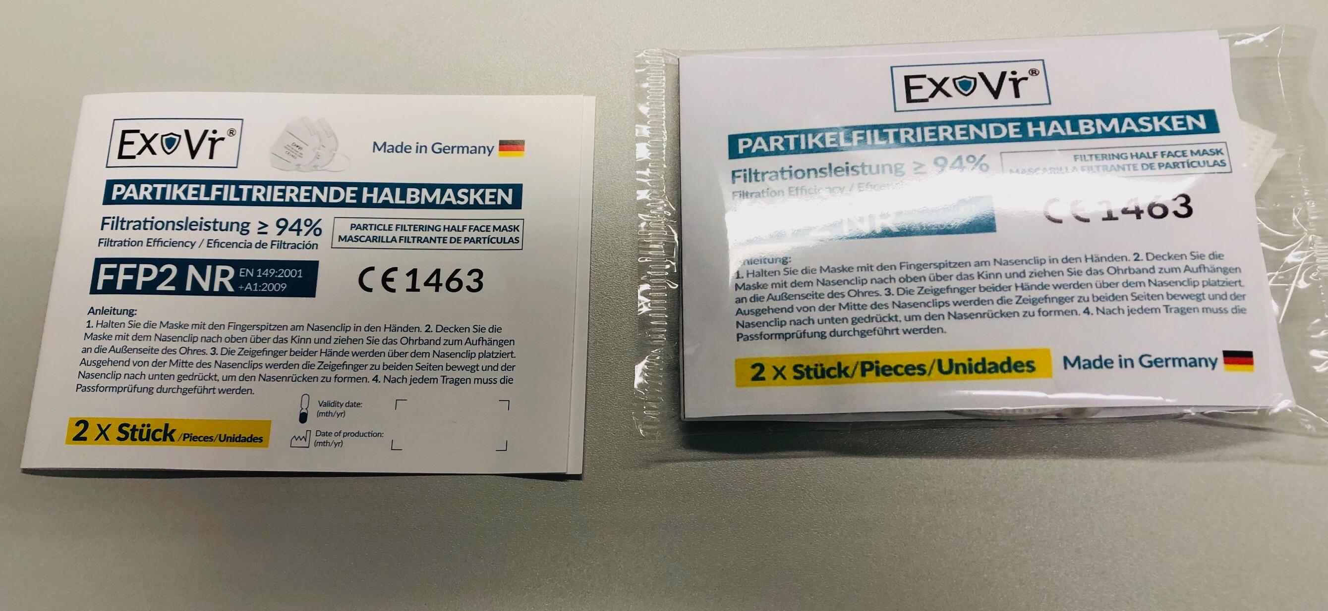 EXOVIR FFP2 Maske (Made In Germany- 4 lagig,  2er Packung
