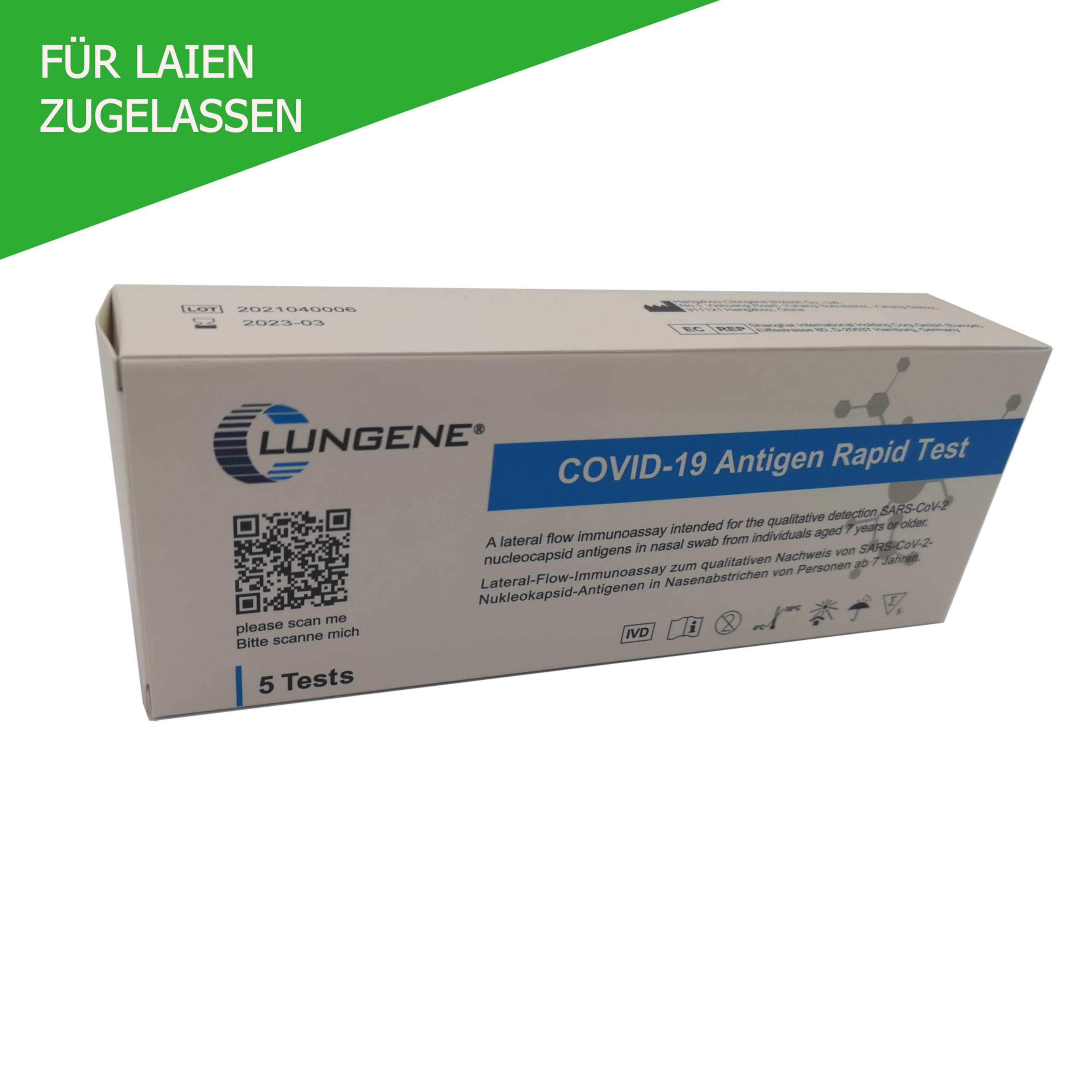 Clungene Antigen Schnelltest (vorderer Nasenabstrich) zum Nachweis von SARS-CoV2 5er Pack