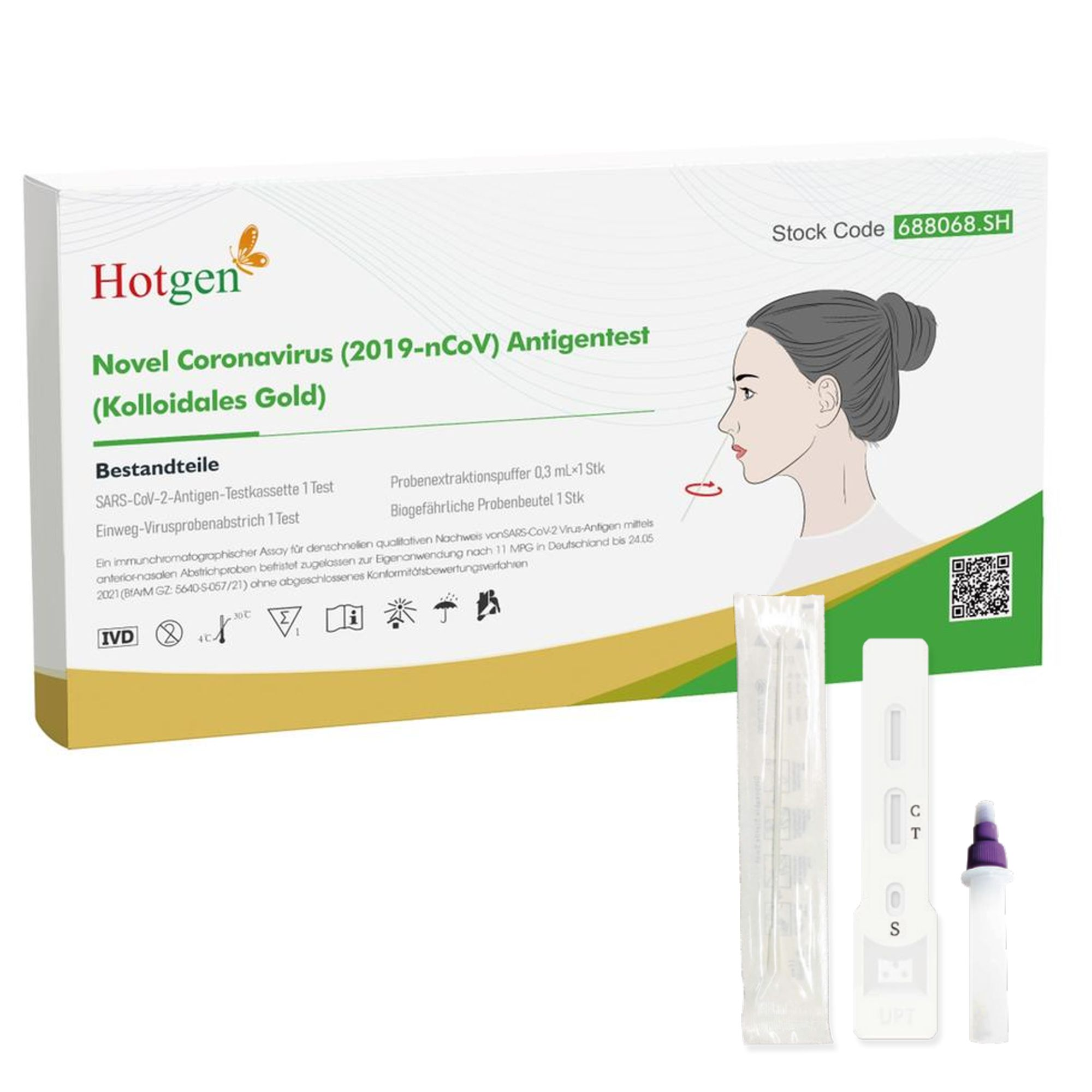 5er Packung Hotgen Novel Coronavirus (2019-nCoV)-Antigentest (Kolloidales Gold)(vorderer Nasenabstrich)