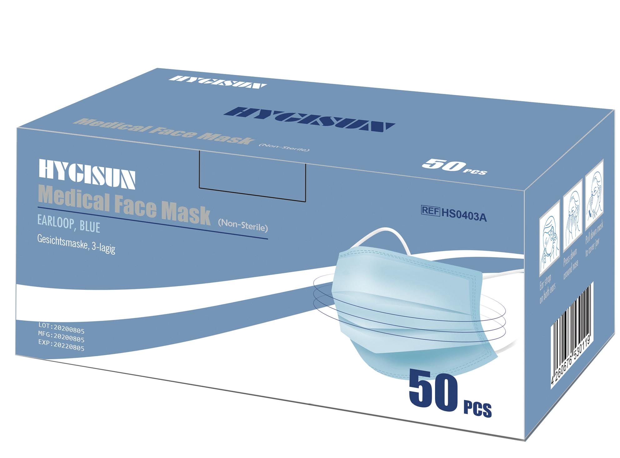 Typ II R Medizinische Mundschutzmasken 3- lagig (50Stk.) (EN 2016/425 zertifiziert)