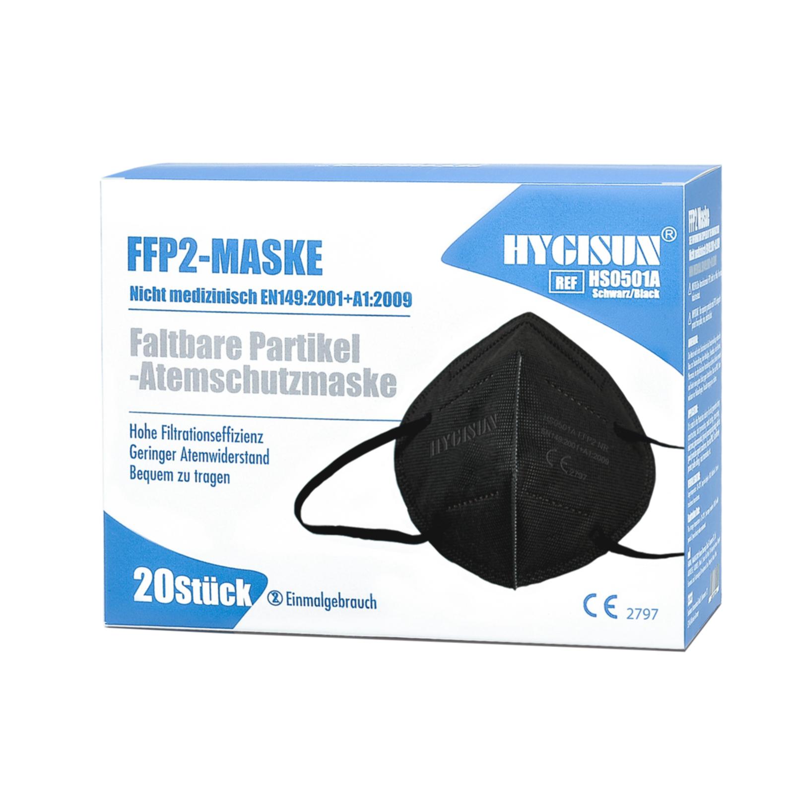 Hygisun FFP 2 Mundschutz-Maske schwarz - 20er Packung (TÜV geprüft)